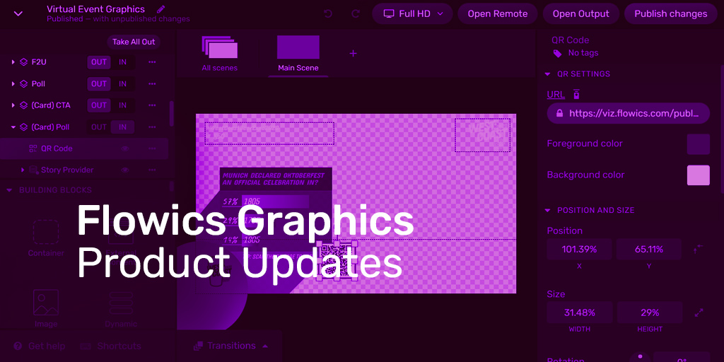 Flowics Graphics Updates: more design tools to create captivating broadcast graphics in the cloud