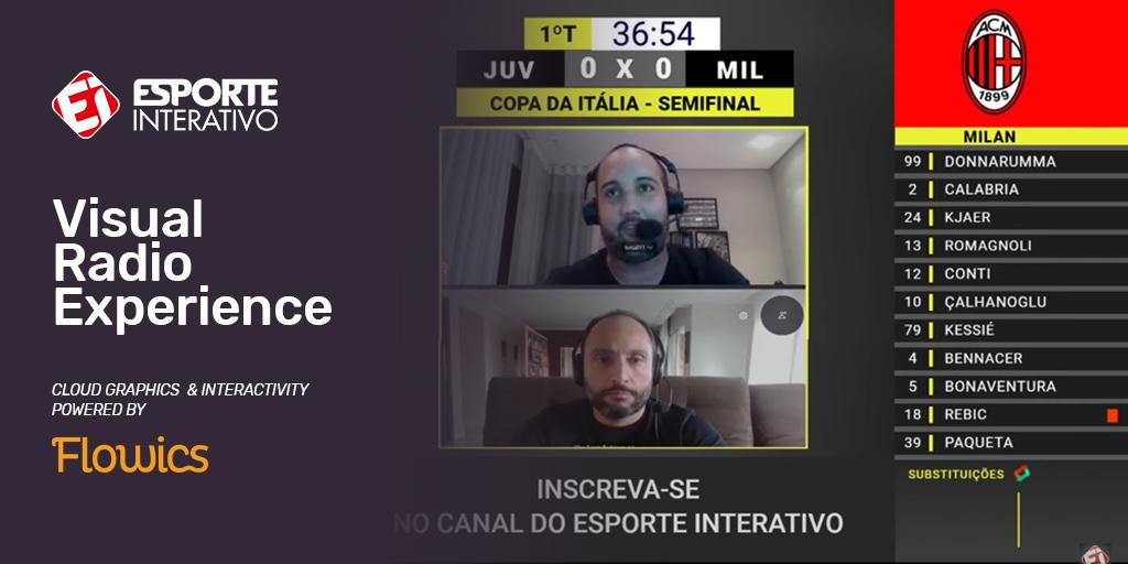 Client Case: Esporte Interativo. Visual Radio Live Streaming on FB Live and YT Live.